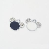 encantos do urso preto venda por atacado-100 pçs / lote Rhinestone Bear Head Encantos Pingente, branco preto cores, 16 * 20mm Bom Para Artesanato, fabricação de jóias