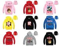 sudaderas de colores mezclados al por mayor-Mezcle 22 colores Roblox Kids Boys Girls Sudaderas de dibujos animados Pullover para niños Sudaderas informales diseñador de ropa Chaqueta Escudo Outwear Sportwear