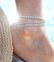 Wholesale brass bead cupchain rhinestone multi layer anklet on left ankle hot sale styel for summer