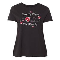 ingrosso nuova mamma calda-New 2018 Hot Summer Casual T Shirt Stampa Girocollo Donna Coccinella Home Is Mom Short Short T Shirt