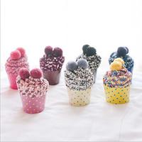 medias de spandex blancas al por mayor-3 pares de cupcake mujer linda calcetines japoneses de harajuku con bola de invierno engrosamiento coral terciopelo calcetines de terry piso con caja femenina