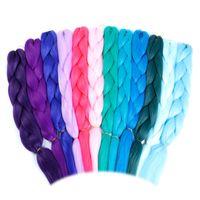 Wholesale ombre braiding hair online - Pure Color Pink Purple Blue Blonde Color Synthetic Kanekalon Jumbo Braids Ombre Braiding Hair Extension White Women