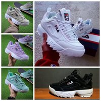 Wholesale denim blue ladies shoes for sale - 2018 Disruptors Mens Womens white purple sneakers raf simons ozweego Chaussures Big Sawtooth Ladies Casual Designer running shoes