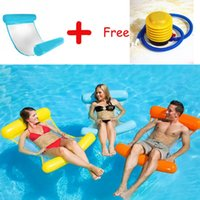 Wholesale recliner beds online - PVC Water Hammock Stripe Pattern Lounge Foldable Inflatable Floating Bed Swimming Lounger Backrest Recliner Sleeping Chair inflator pump