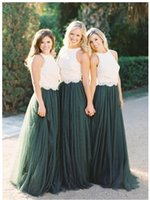 Wholesale Emerald Green Color Dresses - High Neck A-line Long Bridesmaids Dresses Emerald Green Lace Tulle Draped Wedding Party Dress Evening Gowns For Bridesmaid Brida