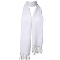 ingrosso scialle di fringe bianco-Sciarpa scialle con nappe scialle invernali bianche frange