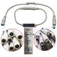 ingrosso connettore femmina 12v dc-DC12-24V 6A 3Keys Mini Dimmer Controller Led con connettore maschio Femmina DC per 5050 3528 Single Color LED Strip