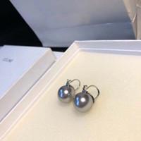 pearl drop pendant achat en gros de-Marque en laiton matériel pendentif avec la nature blanc ou gris petite perle ronde cerceau boucle d'oreille pour les femmes de mariage cadeau bijoux drop Shipping PS6