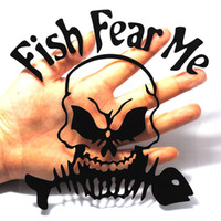 decalque de peixes 3d venda por atacado-15 * 15 CM 3D Fish Me Medo Osso Crânio Adesivo de Pesca Reflexivo Etiqueta Do Carro Peixe Esqueleto Porta Decoração Decalque Preto / Prata branco