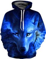 galaxy azul con capucha mujer al por mayor-Nuevo Galaxy Space Blue Wolf Hoodies Impreso 3D Mujeres Hombres Sudaderas Chándales Chaquetas de manga larga con capucha Thin Hoody Pullover