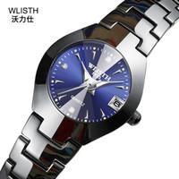 роскошные часы из вольфрама стали оптовых-New Tungsten Steel Female Watch Diamond Scale Woman Quartz Watches Top  Ladies Fashion Watch Calendar Clock Luminous