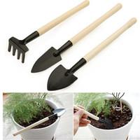 Wholesale mini garden tools wholesale - 3Pcs Set Children Mini Compact Plant Garden Hand Wood Tool Kit, succulent plant tool Spade Shovel Rake For Gardener
