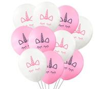 hareket duyarlı toptan satış-Tronzo Balonlar Unicorn Parti Lateks Pembe Beyaz Karikatür Unicorn Parti Balonlar Doğum Günü Düğün Parti Dekorasyon Malzemeleri GA335