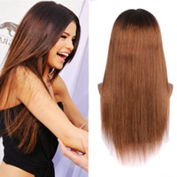Wholesale thick black wig - 150 Density Brazilian Ombre Honey Blonde Color 1B 27 Thick Glueless Full Lace Human Hair Wigs Straight Lace Front Wig For Black Women