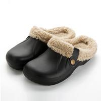 zapatos de casa de lana al por mayor-Zapatillas de invierno Cálidas Zapatillas de interior Calzoncillos ocasionales Zuecos de azafrán con forro de piel Forro Sandalias para mujer del piso de casa Zapatillas HS476
