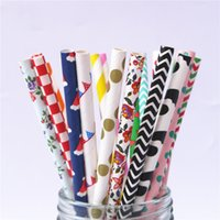 Wholesale home bar kitchen online - 25pcs More Than Styles Colorful Paper Straws Bar Tools Kitchen Accessories Party Supplies Wedding Decoration Home Decor