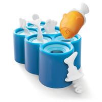 eiscreme großhandel großhandel-Großhandel Kreative 6 Hohlraum Mini Fisch Eis Pop Form Set Eismaschine Eiscreme Form für Küche Haushalts DEC256