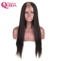 Wholesale u part wig ombre color online - Light Yaki Straight Hair U Part Virgin Human Hair Wig Brazilian Hair Middle Openning Inches Size Wig Natural Color
