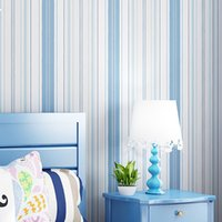 Wholesale vertical striped wallpaper - Modern Fashion Pink Blue White Vertical Striped Wallpaper For Kids Room Bedroom Living Room Wall Decoration Non-woven Wallpaper