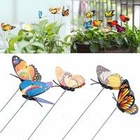 ingrosso decorazione farfalle giardino-Whosale 15 Pz / lotto Farfalla Artificiale Decorazioni Da Giardino Simulazione Farfalla Stakes Cortile Pianta Prato Decor Falso Butterefly Colore Casuale