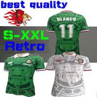 Wholesale vintage shirts xxl - 1998 MEXICO RETRO VINTAGE BLANCO Hernandez Blanco Campos soccer jerseys uniforms HOME white Football Jerseys shirt camiseta futbol S-XXL