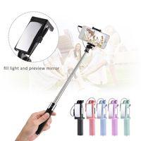 monopé de espelho venda por atacado-Extensível Telefone Selfie Vara Monopé Fio De Controle De Pólo com Luz de Preenchimento Espelho com Caixa de Varejo de Alta Qualidade