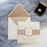 Wholesale small invitations card - Luxury Ivory Rose Glitter Wedding Invitations Elegant Laser Cut Party Invitation Cards Evening Dinner Invites with Envelope & Small Tags