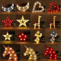 Discount led 3d signs - Unicorn Shell Crown LED Night Light Decorative Marquee Signs Letter Lamp 3D Battery Operated Kid Bedroom Lights