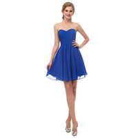 Wholesale zipper stock special occasion dresses for sale - Under Royal Blue Sweetheart Neck Homecoming Dresses Short Mini Zipper Back Maid Of Honor Wedding Guest Gown Cheap In Stock Party