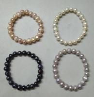 ingrosso braccialetto di perle d'acqua dolce nera-2018 Vendite calde 100% naturali coltivati d'acqua dolce 8-12mm irregolari bracciali di perle elastico perlato bianco / rosa / nero / viola
