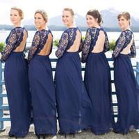 marineblaues kleid für strandhochzeit großhandel-Navy Blue Beach Brautjungfernkleider mit langen Ärmeln Spitze Chiffon Backless Brautjungfernkleider Hochzeitsgast Kleider Party Kleider