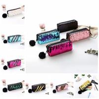 Wholesale pencil ball for sale - Love Sequin Pencil Pen Makeup Storage Bags Fashion Cute Mermaid Sequin Fur Ball Cosmetic Bags Cases Purse MMA919