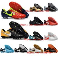 2018 chaussures de football pour hommes Tiempo Legend VII FG football d'origine chaussures de football terrain mou pas cher Tiempo Totti X Roma Blackout Black New