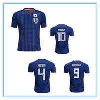 Wholesale Japan 18 - 2018 world cup Japan Soccer Jersey 18 19 Japan Home blue soccer Shirt #10 KAGAWA #9 OKAZAKI #4 HONDA football uniform 18 world cup