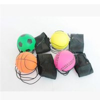 Wholesale pounding toys for sale - 63mm Throwing Bouncy Ball Rubber Wrist Band Bouncing Balls Kids Funny Elastic Reaction Training Balls Antistress Toys CCA9629