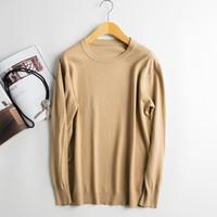 wollbrücken verkauf großhandel-Heißer Verkauf Winter Pullover Männer Pullover 100% Wolle Strick Pullover Tops Oneck Neue Ankunft 6 Farben Pure Woolen Pullover Männliche Kleidung