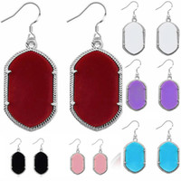 gemas de araña al por mayor-Nuevo Silver Brand Geometry Gem Stone Chandelier Earrings para Mujeres Geometric Silver Plated Dangles 8 colores