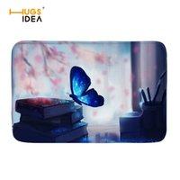 kelebek bant toptan satış-HUGSIDEA Avrupa Tarzı Oturma Odası için Halılar Hayvan Kelebekler 3D Baskı Yıkanabilir Yumuşak Halılar Ev Dekor Mat Tapete Para Sala