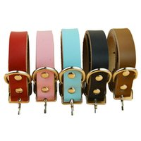 Wholesale Genuine Leather Dog Collars - 5pcs lot Bulk Pet Collars Luxury Genuine Leather Plain Pet Dog Puppy Collar for Chihuahua Small and Medium Dogs and Cats Free Shipping