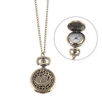 montres couleur cool achat en gros de-Montre de poche Vintage Bronze Couleur Quartz Montre Cool Chain Hollow Owl Couverture de montres LXH