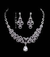 Wholesale faux crystal pearl wedding jewelry sets for sale - Group buy Water Drop High Quality Crystals Wedding Bride Jewelry Accessaries Set Earring Necklace Crystal Fashion Design With Faux Pearls HKL566