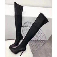 Wholesale Fine Zip - 80722017 new women high heel Knee Boots suede fine with a long barrel high heel boots leg tube point toe