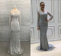 Wholesale zipper stock special occasion dresses - In Stock Us Size Luxury Silver Champagne Evening Dresses Beads Long Sleeves Jewel Women Prom Gowns Formal Vestidos