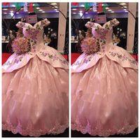 c7e1faa12ebfc Wholesale beautiful maternity dresses short resale online - 2018 Beautiful  Pink Lace Appliques Quinceanera Dresses Embroidery