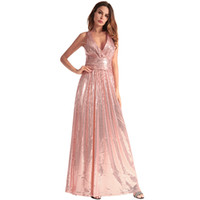 Wholesale red cross clothing online - Sexy Braces Bridesmaid Designer Dress Cross Backed Sequins V Collar Solid Color Casual Dress Youthful Popularity Women Clothes