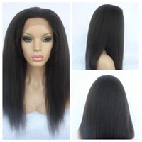 Wholesale best human hair yaki wigs - Italian Yaki wig African American Full Lace Human Hair Wigs Best Glueless Brazilian Virgin Hair Wig Kinky Straight Lace Front Wigs