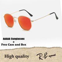Wholesale red color personality - Brand Sunglasses women men High quality Hexagonal Metal Sun Glasses irregular Hexagonal personality flat lenses with cases and box