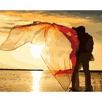 abstrakte kunst malerei liebhaber großhandel-Seaside Lovers Diy Malen Nach Zahlen Abstrakte Moderne Wandkunst Figur Malerei Handgemalt Für Heimtextilien 40x50