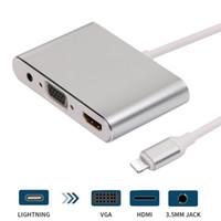 iphone tv hdmi toptan satış-HDMI VGA Jack Ses TV Adaptör Kablosu iPhone için X iPhone 8 7 7 Artı 6 6S iPad Serisi İçin Yeni
