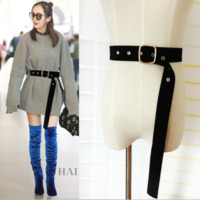 Wholesale velvet sweater dress - Wild velvet belt women's dress sweaters simple decorative hanging cloth strap